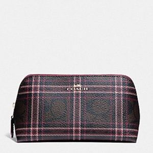 Coach Signature Shirting Plaid Cosmetic Bag